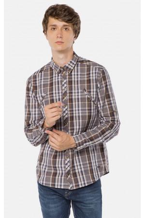 Чоловіча сорочка «Глеб» коричневого кольору