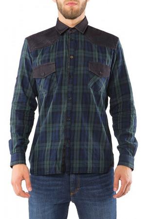 Мужская рубашка «Нэт» темно-зеленого цвета