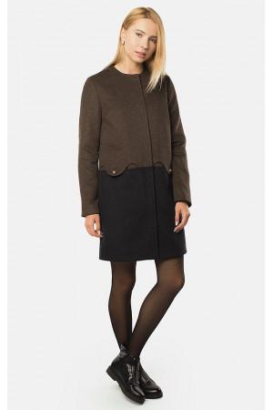 """Пальто жіноче """"Дульсія"""" коричневе з чорним"""