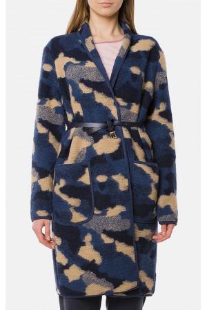 """Пальто жіноче """"Сабіна"""" темно-синього кольору"""