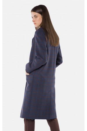 """Пальто жіноче """"Софі"""" синього кольору в клітинку"""
