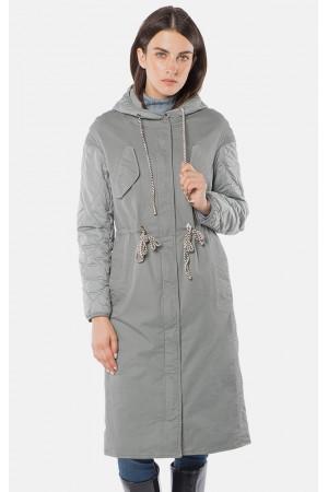"""Куртка жіноча """"Іларія"""" з капюшоном сірого кольору"""