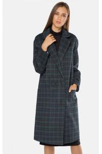 """Пальто жіноче """"Софі"""" зеленого кольору в клітинку"""