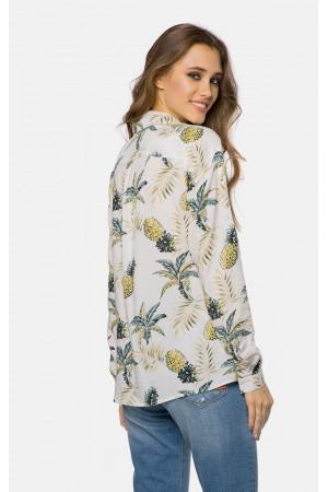 Блуза «Келли» белого цвета с рисунком