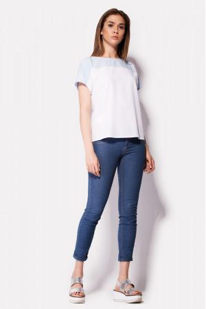 Блуза «Еос» біло-блакитна