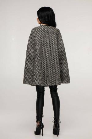 Женское пончо «Эстель» серого цвета шевронный рисунок