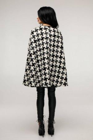 Женское пончо «Эстель» черно-белого цвета