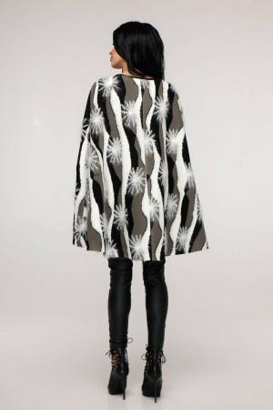 Женское пончо «Эстель» бело-серого цвета рисунок снежинка