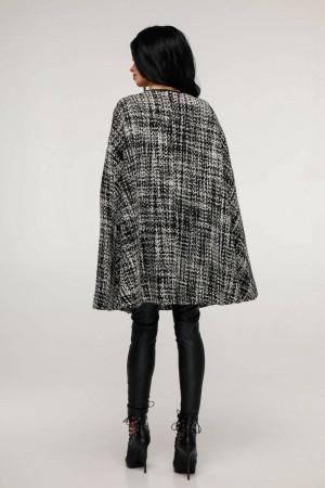 Женское пончо «Эстель» черно-белого цвета меланж