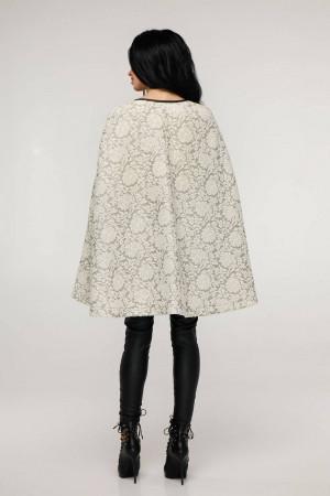 Женское пончо «Эстель» светло-серого цвета с белыми цветами