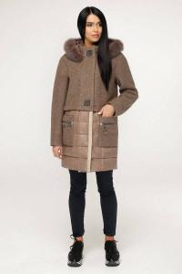 Зимове пальто «Полетто» жовтувато-коричневого кольору 44 розмір