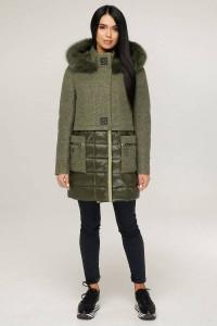 Зимнее пальто «Полетто» оливкового цвета 46 размер