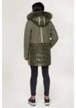 Зимове пальто «Полетто» оливкового кольору 46 розмір