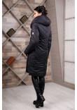 Пуховик «Шебба» чорного кольору з білим 46 розмір