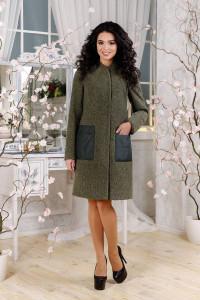 Женское пальто «Молин» цвета хаки 46 размер