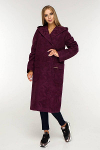 Жіноче пальто «Гарденія» фіолетового кольору 52 розмір