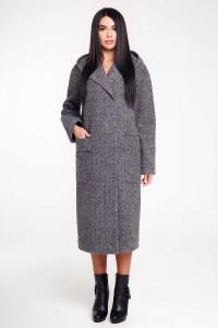 Женское пальто «Гардения» серого цвета 44 размер