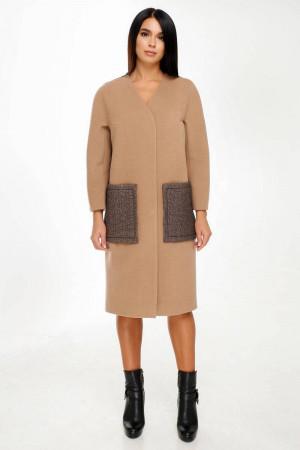 Жіноче пальто «Веріто» жовтувато-коричневого кольору