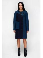 Женское пальто «Лиара» темно-голубого цвета