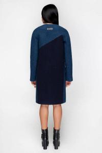 Жіноче пальто «Ліара» темно-блакитного кольору 50 розмір