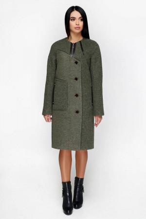 Женское пальто «Лиара» темно-оливкового цвета