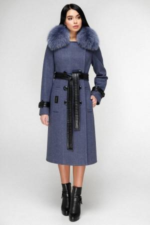 Зимове пальто «Борей» блакитно-сталевого кольору