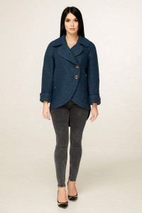 Жіноче пальто «Аміра» синього кольору