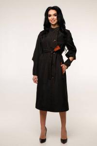 Жіночий плащ «Мартен» чорного кольору з цегляним 44 розмір