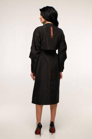 Женский плащ «Мартен» черного цвета с кирпичным 44 размер
