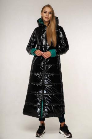 Пуховик «Власта» чорного кольору з зеленим 50, 56 розмір