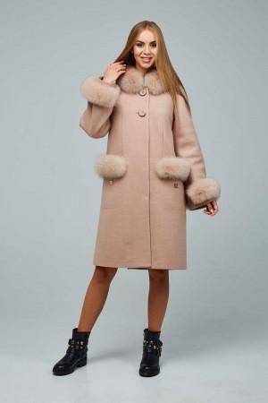 Зимнее пальто «Виола» светло-кремового цвета 48 размер