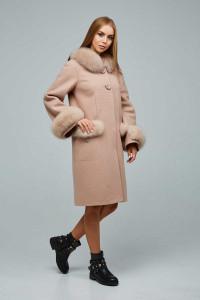 Зимове пальто «Віола» світло-кремового кольору