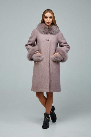 Зимнее пальто «Виола» розово-коричневого цвета