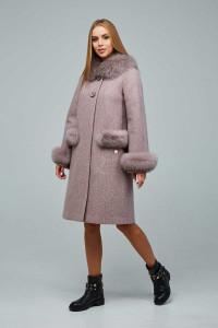 Зимове пальто «Віола» рожево-коричневого кольору