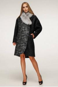 Зимове пальто «Дівія» чорного кольору 46 размер