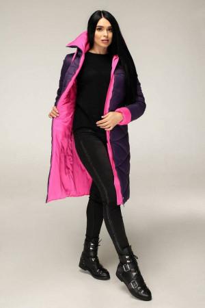 Пуховик «Зафіра» фіолетового кольору з рожевим