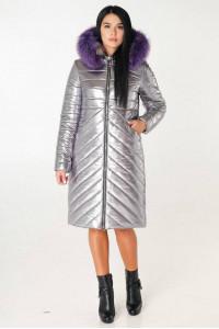 Пуховик «Брасс» сріблястого кольору з фіолетовим