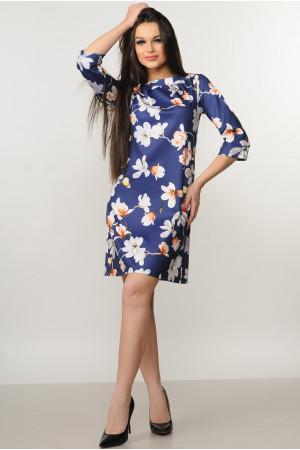 Платье «Волна» синего цвета с магнолиями