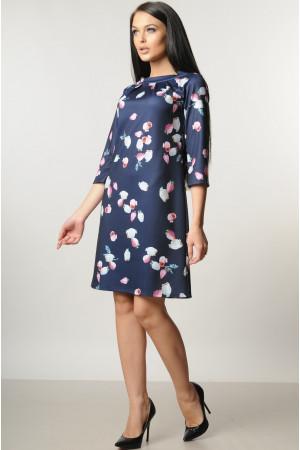 Платье «Волна» синее с бутонами