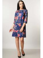 Платье «Волна» синее с цветами
