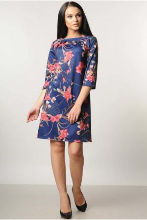 Сукня «Хвиля» синя з квітами