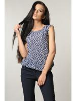Блуза «Кітті» темно-синя з квітами