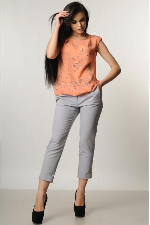 Костюм «Китти»: серые брюки, блуза персикового цвета