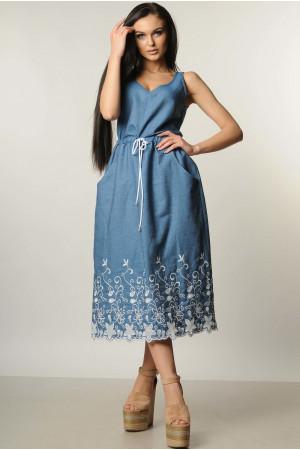 Сарафан «Ірис» синій з вишивкою