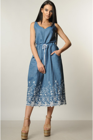Сарафан «Ирис» синий с вышивкой