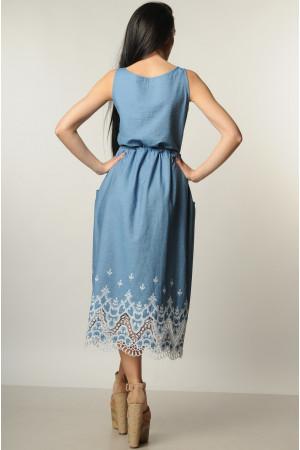 Сарафан «Ирис» голубой с кружевом