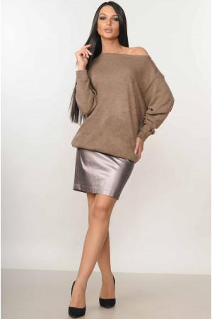 Костюм «Микаэль-Спэйс»: юбка цвета бронзы и свитшот цвета капучино