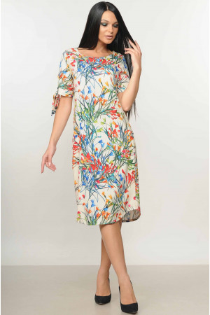 Платье «Феличе» цвета ваниль с цветочным принтом