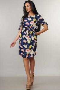 Платье «Феличе» синего цвета с цветочным принтом