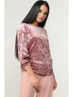 Велюровая блуза «Мирей» розового цвета